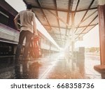 traveler with backpack in train ... | Shutterstock . vector #668358736