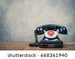 retro old black rotary... | Shutterstock . vector #668361940