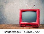 retro old  red tv receiver on... | Shutterstock . vector #668362720