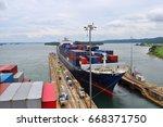 Merchant Ships Pass The Locks...