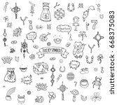 hand drawn doodle lucky symbols ... | Shutterstock .eps vector #668375083