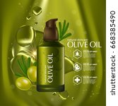 olive oil organics natural skin ... | Shutterstock .eps vector #668385490