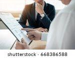 business man interviewer... | Shutterstock . vector #668386588