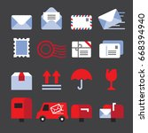 mail color icons | Shutterstock .eps vector #668394940