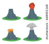 cartoon color volcano erupting... | Shutterstock .eps vector #668401168