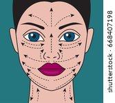 massage lines on beautiful... | Shutterstock .eps vector #668407198