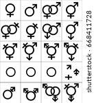 gender symbol  set of sex... | Shutterstock .eps vector #668411728
