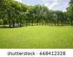 sunlight green lawn surrounded... | Shutterstock . vector #668412328