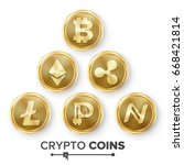 Stock photo digital currency counter icon set fintech blockchain famous world cryptography gold coins 668421814