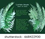 green tropical leaves vector... | Shutterstock .eps vector #668422930