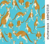 kangaroo on blue background... | Shutterstock .eps vector #668423518