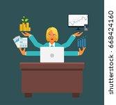 secretary on a workplace...   Shutterstock .eps vector #668424160