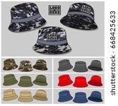 bucket hat template   Shutterstock .eps vector #668425633