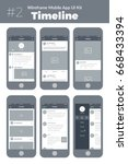 wireframe ui kit for mobile... | Shutterstock .eps vector #668433394