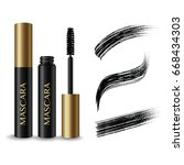 gold   black mascara product  ... | Shutterstock .eps vector #668434303