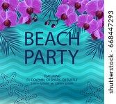 summer beach party poster.... | Shutterstock .eps vector #668447293