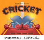 cricket event poster background ... | Shutterstock .eps vector #668450263