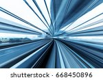 rail track and cityscape of... | Shutterstock . vector #668450896