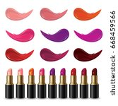 set of lipsticks product and... | Shutterstock .eps vector #668459566