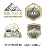 camping and outdoor activity... | Shutterstock .eps vector #668465830
