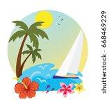 tropical island holidays sea | Shutterstock . vector #668469229
