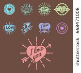 vector i love you text overlays ... | Shutterstock .eps vector #668471008