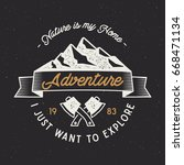 vintage adventure label.... | Shutterstock . vector #668471134