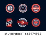 barbecue badges pack | Shutterstock .eps vector #668474983