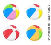 a selection of beach balls in... | Shutterstock .eps vector #668476873