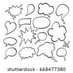 hand drawn speech bubbles. ... | Shutterstock .eps vector #668477380