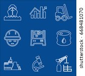 set of 9 industry icons such as ...   Shutterstock .eps vector #668481070