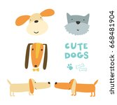 Vector Print With Cute Dogs An...