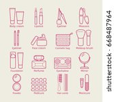 vector cosmetic icons. mascara  ... | Shutterstock .eps vector #668487964