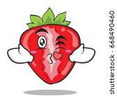 kissing heart strawberry... | Shutterstock .eps vector #668490460