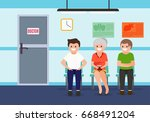 patients in waiting room in... | Shutterstock .eps vector #668491204