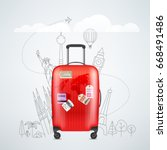 color red plastic travel bag... | Shutterstock .eps vector #668491486