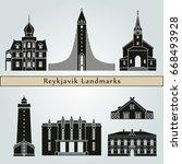 reykjavik landmarks and... | Shutterstock .eps vector #668493928