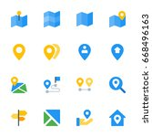 maps and location icon set | Shutterstock .eps vector #668496163