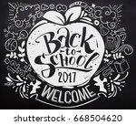 back to school chalkboard with... | Shutterstock .eps vector #668504620