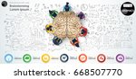 vector brain    businessman and ... | Shutterstock .eps vector #668507770