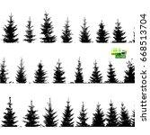 set christmas trees background. ... | Shutterstock .eps vector #668513704