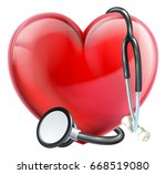 a heart icon and a medical... | Shutterstock .eps vector #668519080