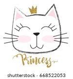 cute princess cat with a... | Shutterstock .eps vector #668522053