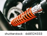 Small photo of Closeup of springs, shock absorbers motorcycle big bike. Rad shock Absorbers motorcycle . focus on suspension.
