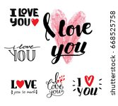vector i love you text overlays ... | Shutterstock .eps vector #668525758