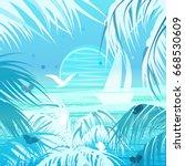 tropical landscape. palms  sun  ... | Shutterstock .eps vector #668530609