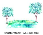 watercolor summer landscape.... | Shutterstock . vector #668531503