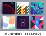 set of album covers with... | Shutterstock .eps vector #668534803