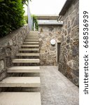Frontal View Of Stone Stairway...