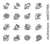 flowers outline flat vector... | Shutterstock .eps vector #668537488